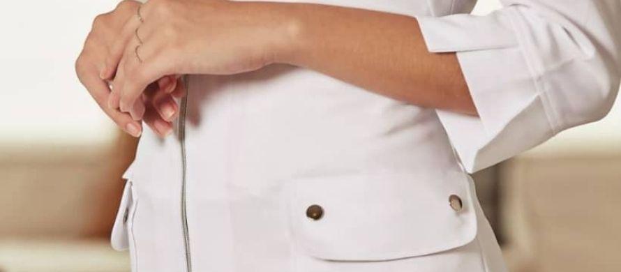 روپوش سفید زنانه مدل زیپ دار بلند