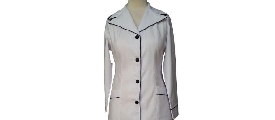 روپوش سفید زنانه مدل نواردار یقه دار